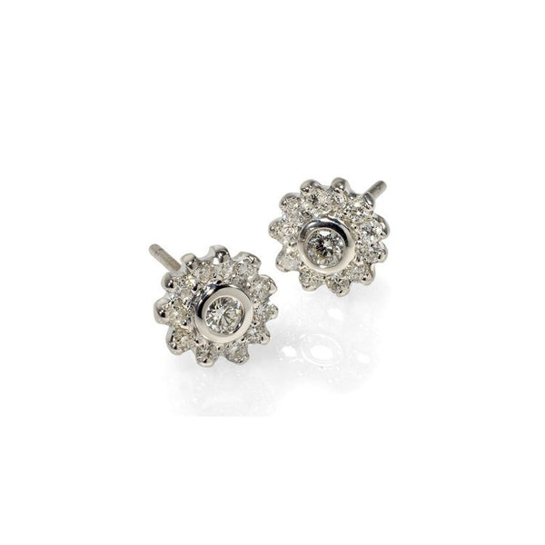 Diamond cluster studs earrings