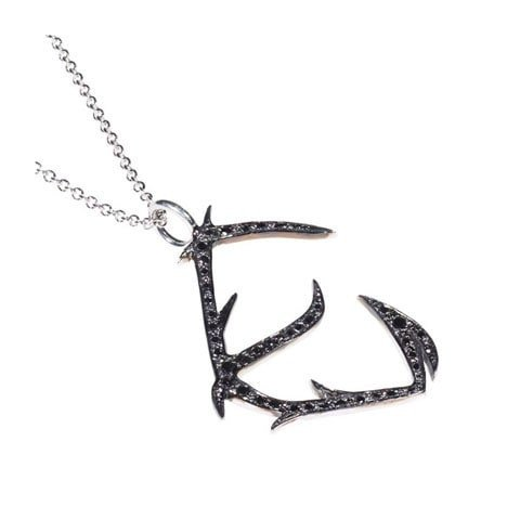 Black diamond initial E necklace