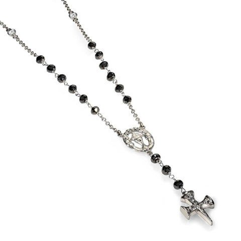 Diamond cross rosary necklace