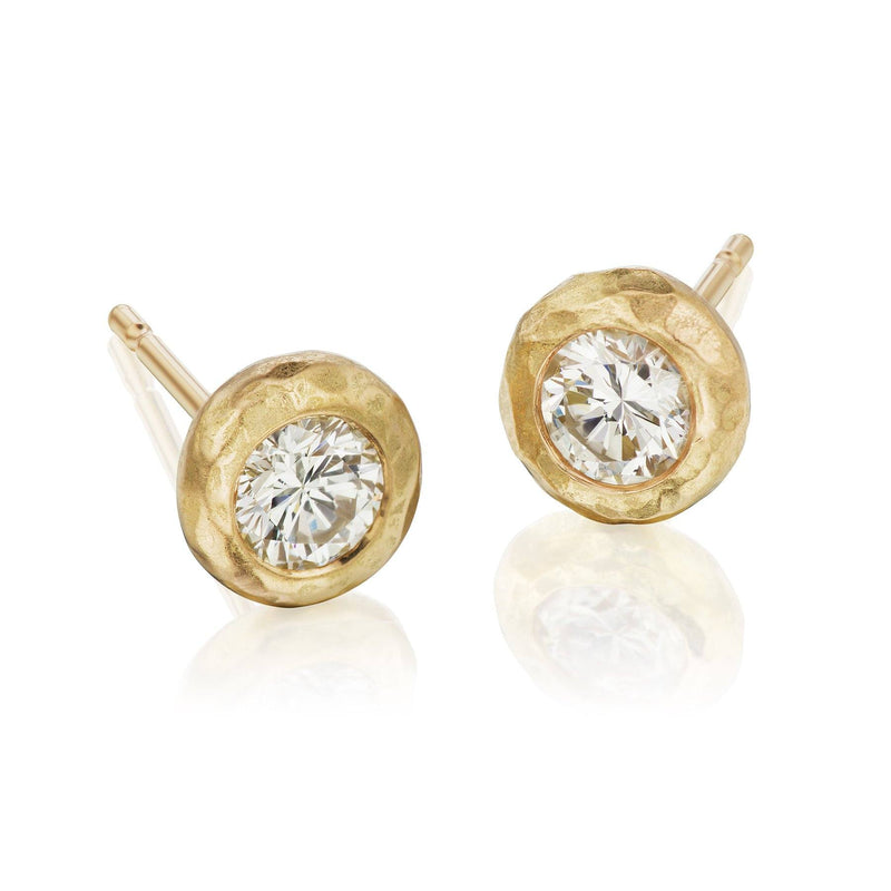 Diamond Studs in Hammered Gold