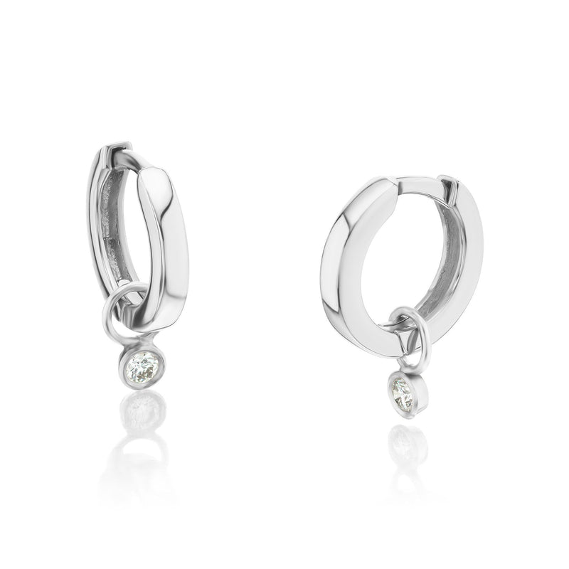 Diamond Drop Huggie Earrings White Gold