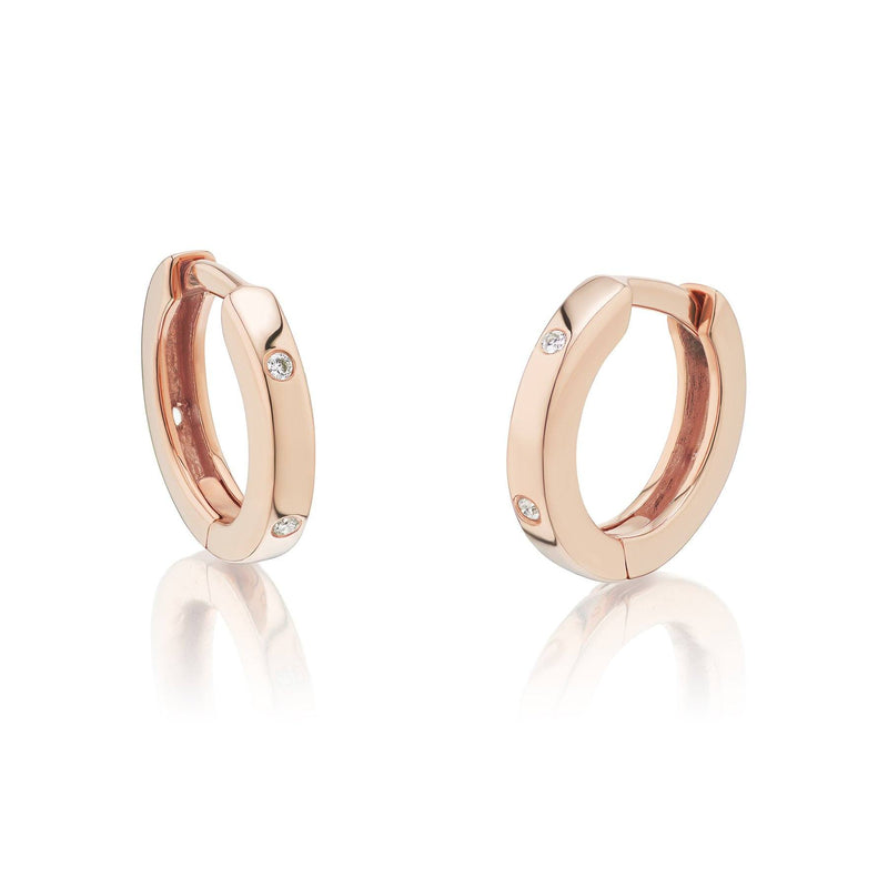 Huggie Diamond Earrings Rose Gold