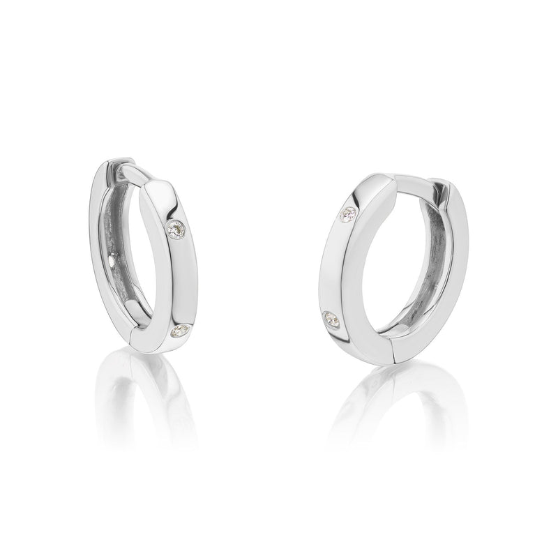 Huggie Diamond Earrings White Gold