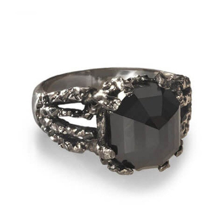 Edgy black diamond ring