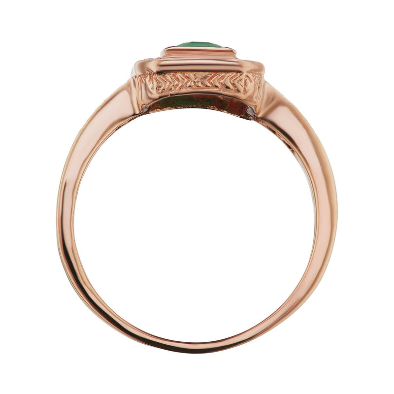 Emerald Rose gold halo ring side view