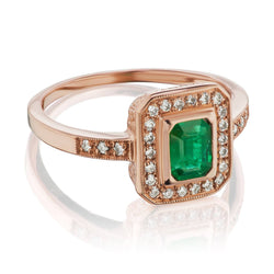 Emerald Rose gold halo ring