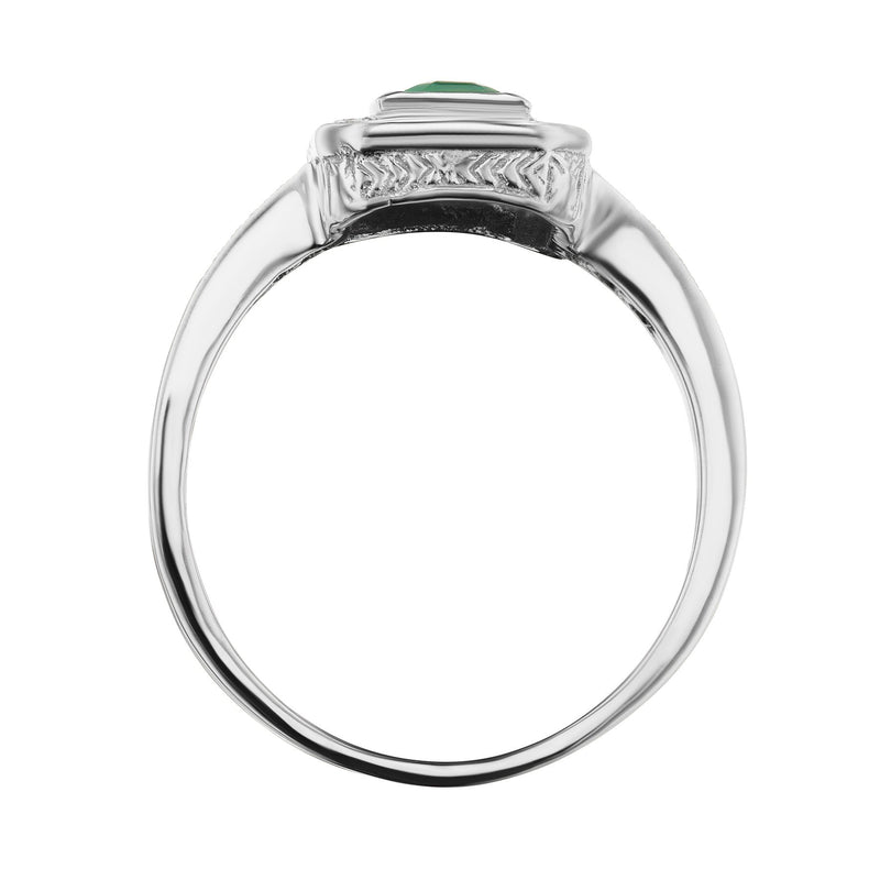 Brazilian Emerald Halo ring side view