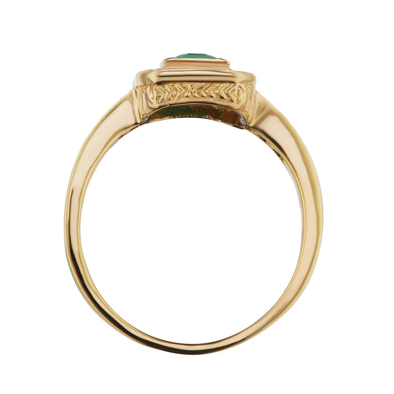Emerald Diamond Halo Ring Side View