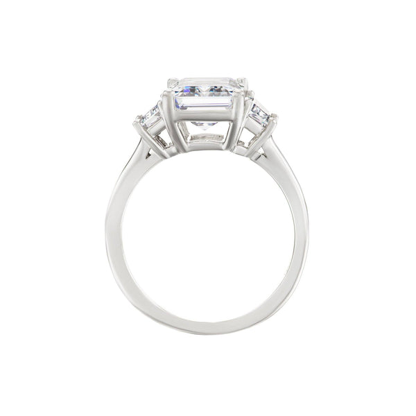 Emerald cut diamond trapezoid engagement ring white gold side view