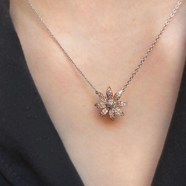Diamond Flower Necklace in Rose Gold