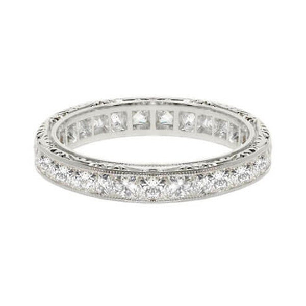 French cut diamond vintage wedding band