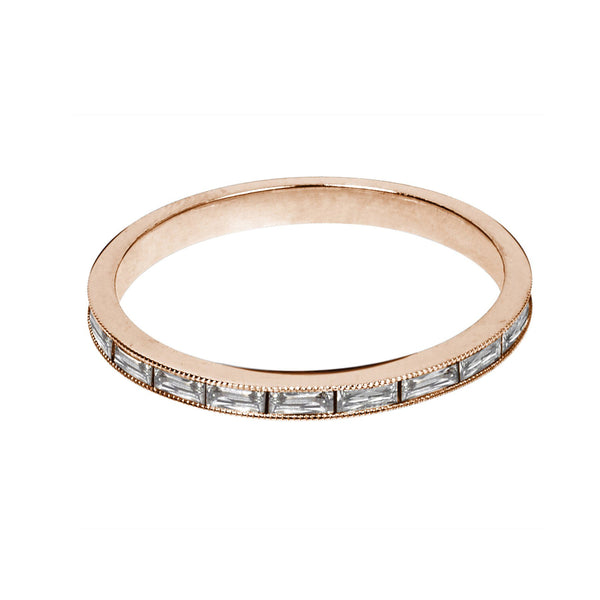 baguette diamond band in rose gold