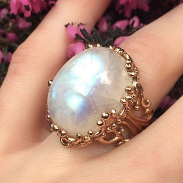 Moonstone Ring in Rose Gold