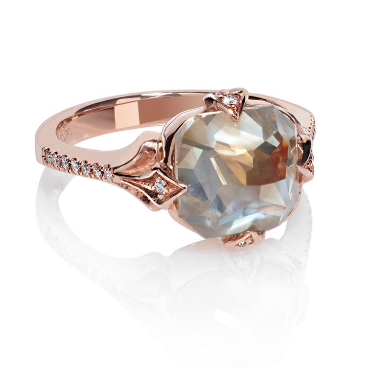 Inverted grey diamond ring in rose gold