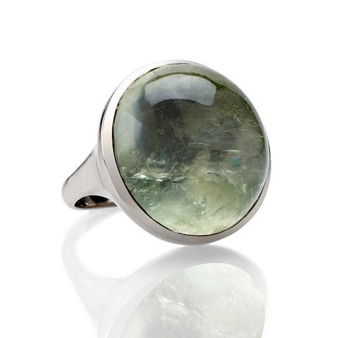 Green amethyst cabochon ring