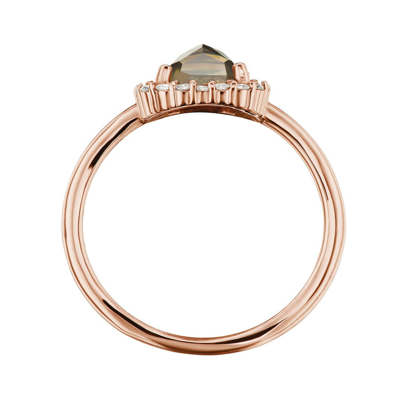 Champagne rose cut diamond halo ring side view