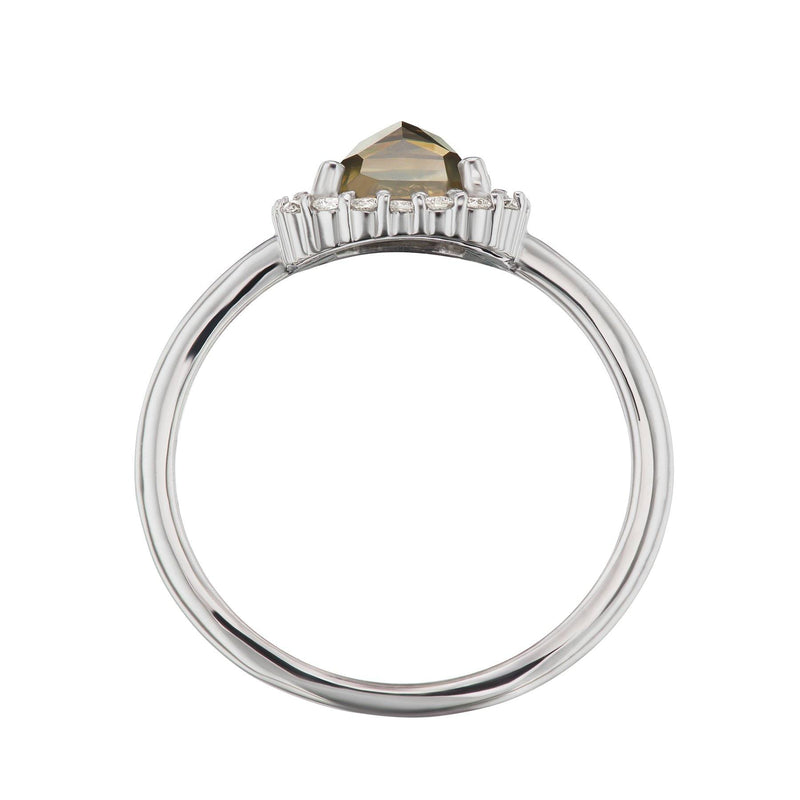 Grey Diamond Halo Ring Side View