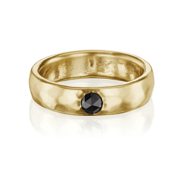 Hammered Black Diamond Wedding Band Yellow Gold
