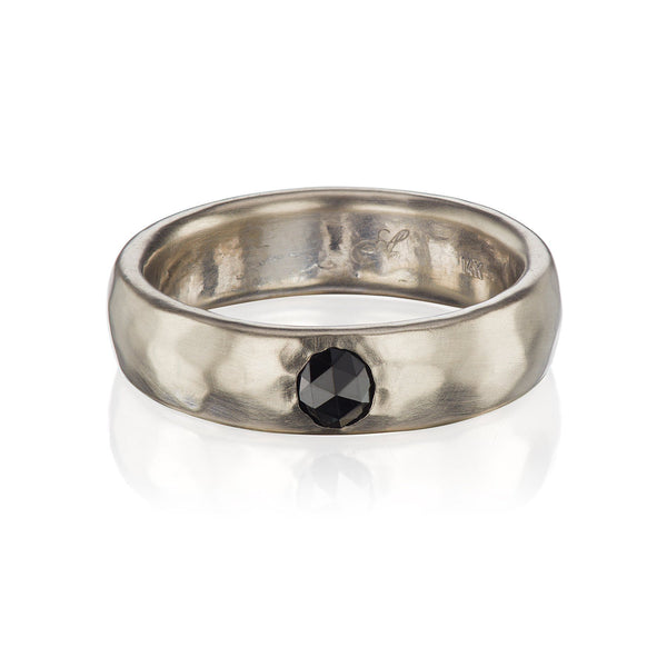 Hammered Black Diamond Wedding Band