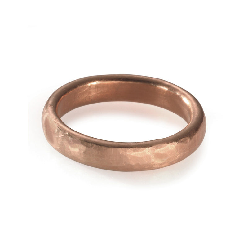 men's hammered wedding band in rose gold