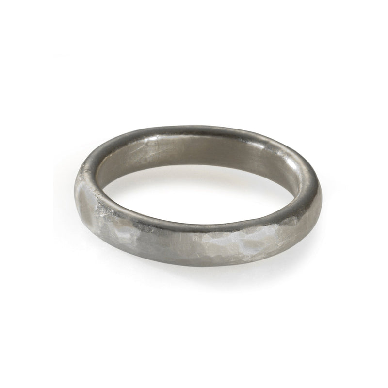hammered white gold 4mm band