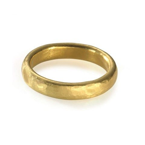 hand hammered wedding commitment band