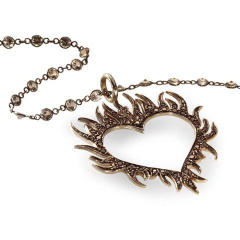 Black diamond heart necklace edgy statement jewelry catherine angiel black diamond heart necklace aloadofball Image collections