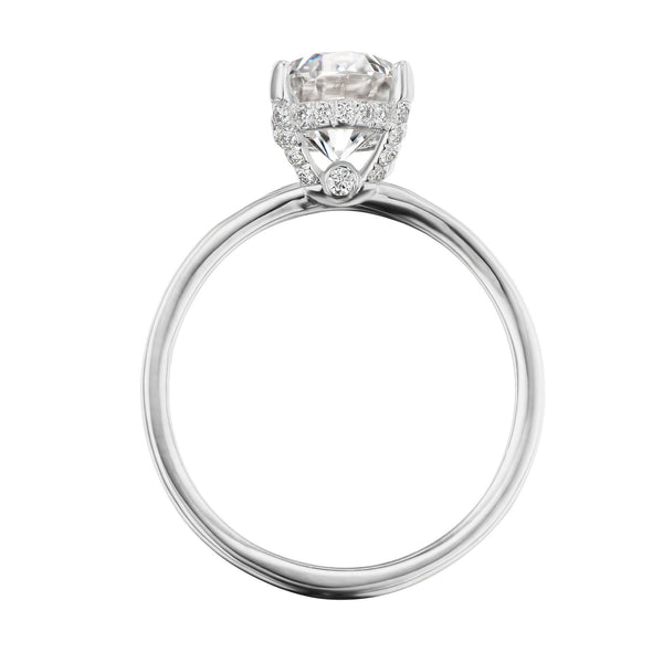 Oval hidden halo engagement ring side view