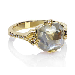 Grey Blue Diamond Ring Yellow Gold