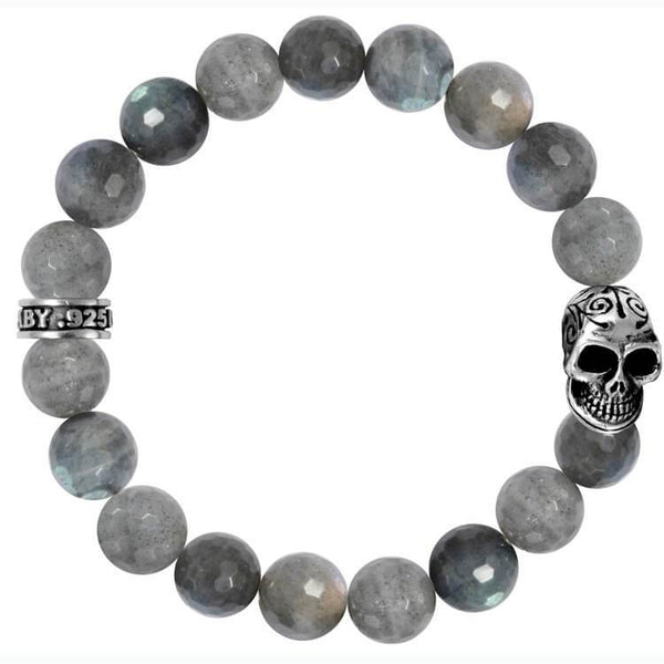 King Baby labradorite bead bracelet with skull