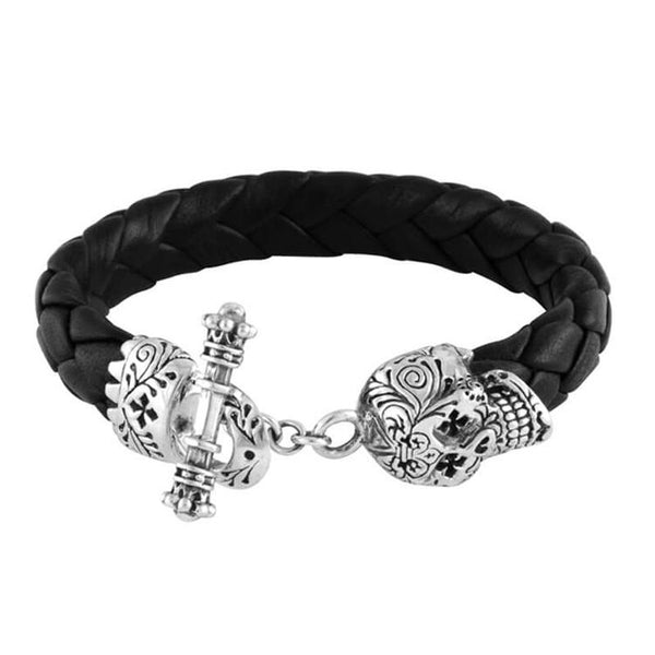 King Baby skull leather bracelet for men