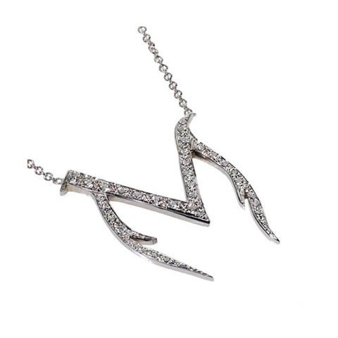 Initial M diamond necklace