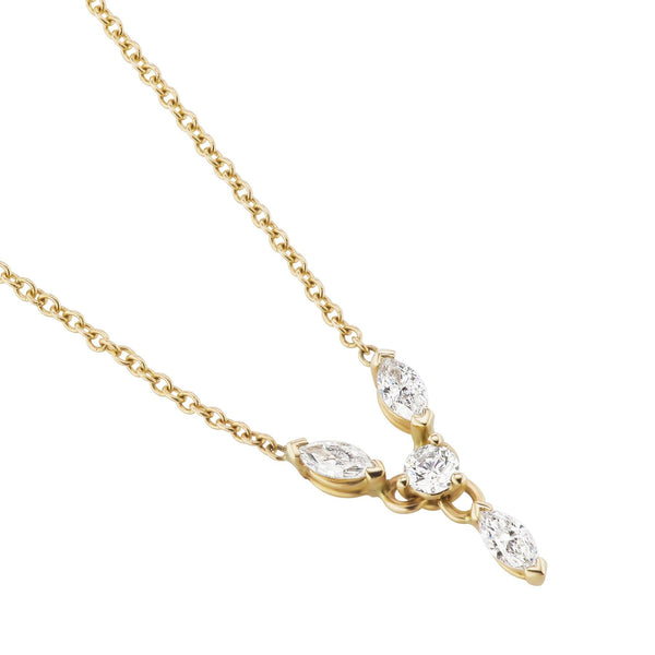 yellow gold marquise diamond necklace