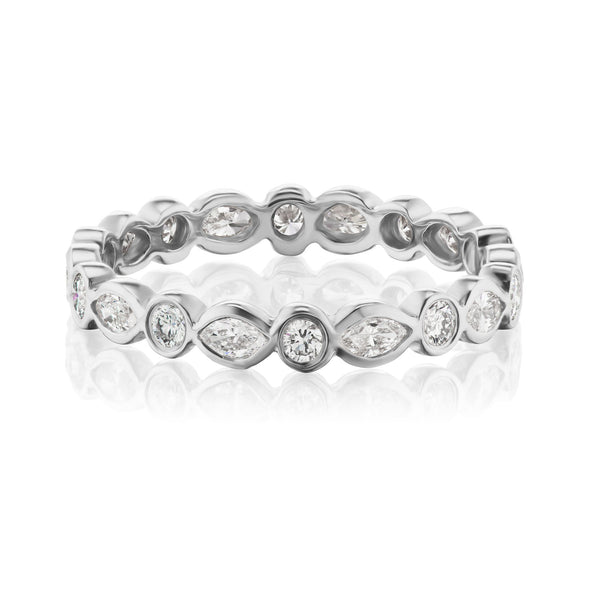 marquise diamond band white gold
