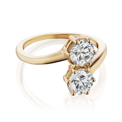 Me and You Engagement Ring Yellow Gold