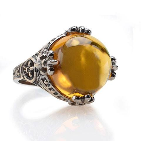 Orange citrine Gothic ring