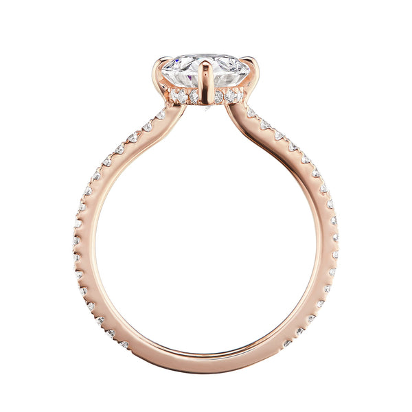 Oval diamond halo ring rose gold side view