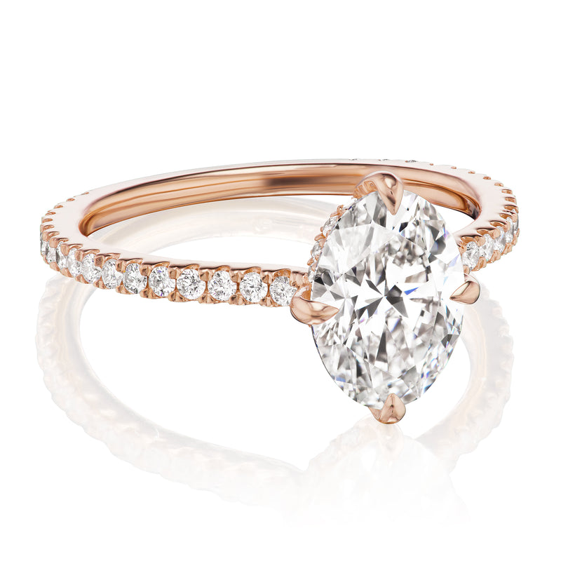 Oval diamond halo ring rose gold