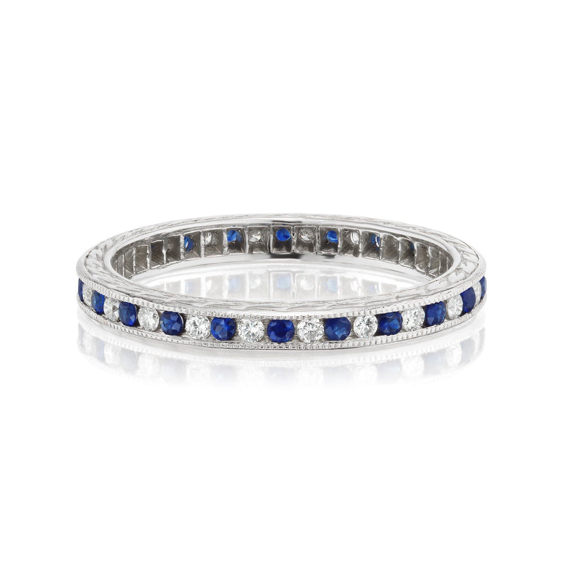Alternating Sapphire and Diamond Band in White Gold