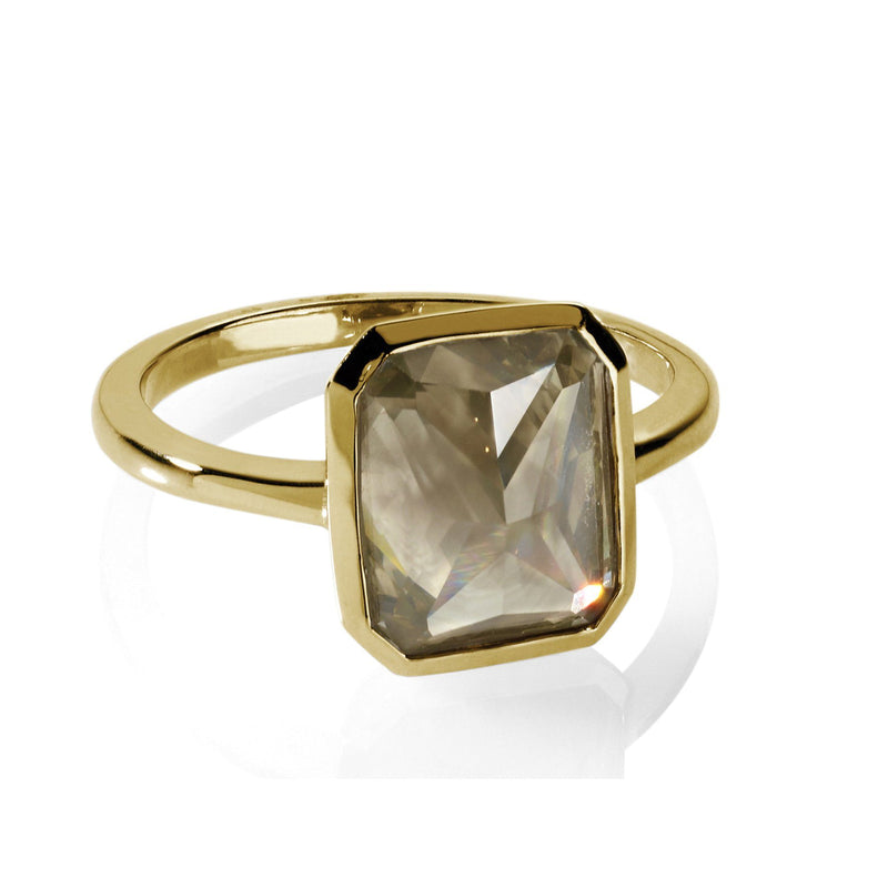 Gray Diamond ring in yellow gold