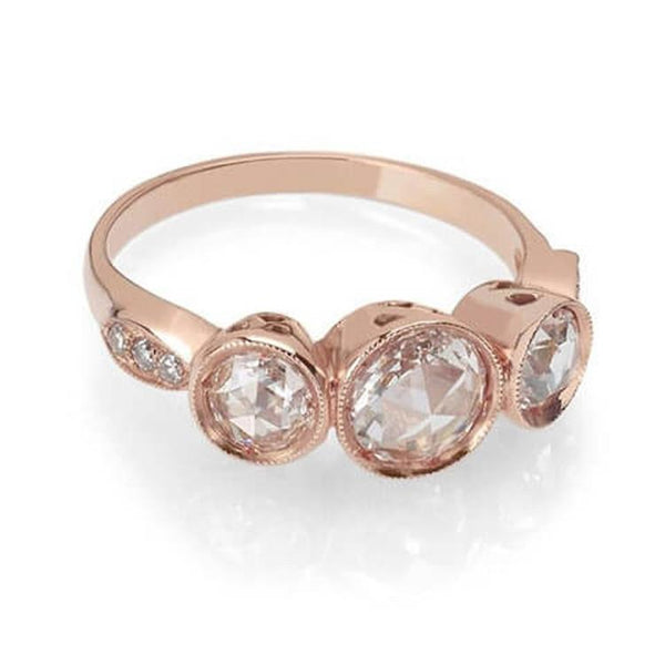 Rose cut diamond 3 stone ring with rose cut diamonds