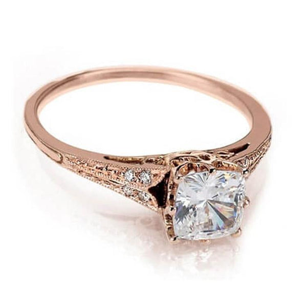 rose gold cushion cut diamond engagement ring handcrafted - Wedding Rings Nyc