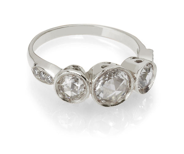 Rose Cut Diamond Three Stone Ring White Gold