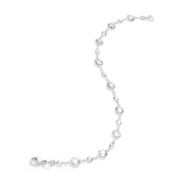 Rose Cut White Topaz Bracelet in White GOld