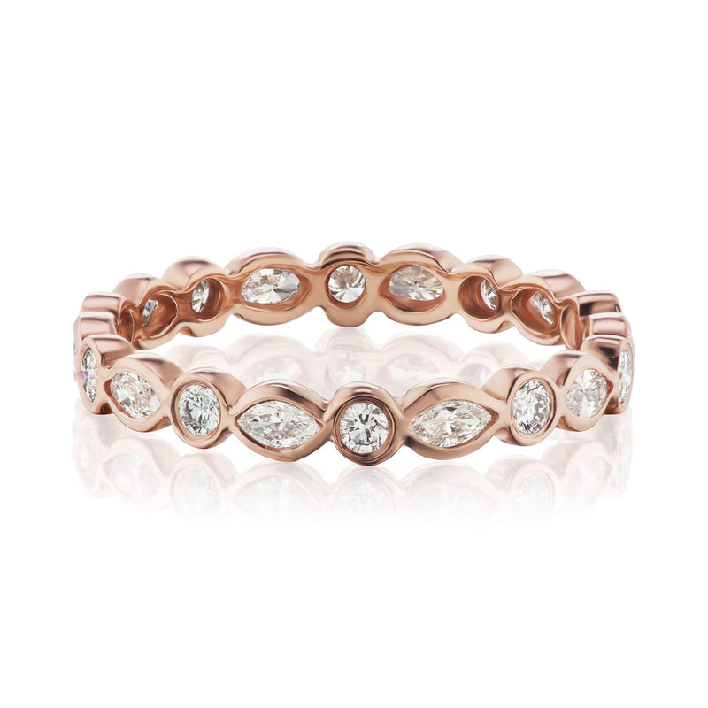 marquise and round diamond band rose gold