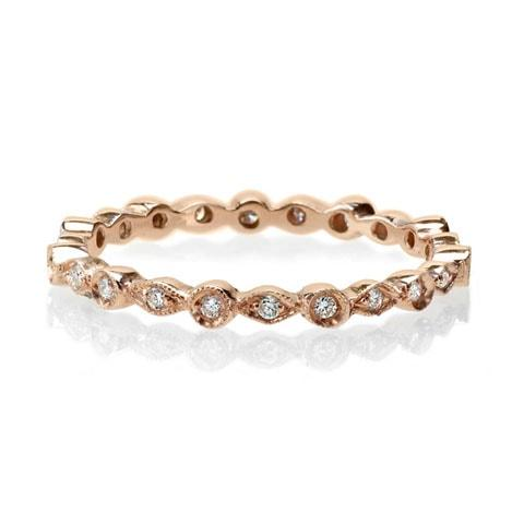 Delicate rose gold diamond vintage band
