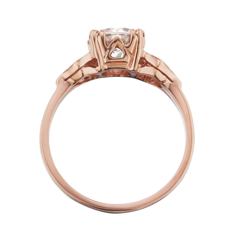 Rose Gold Art Deco Engagement Ring Side View