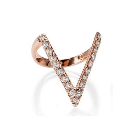 Rose Gold V Diamond Mid Finger Ring