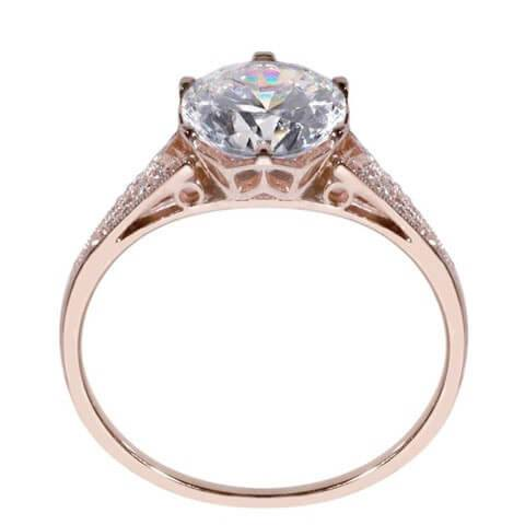 Rose gold vintage engagement ring side view with detail