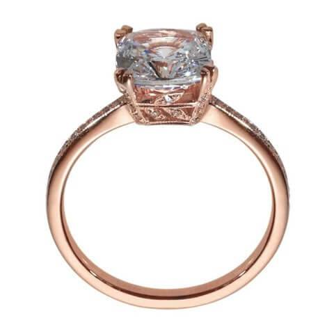 Rose gold cushion cut engagement ring side view